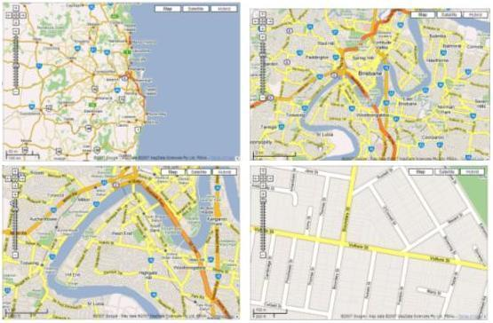 An example of navigation and granularity on digital maps from global view to street level view