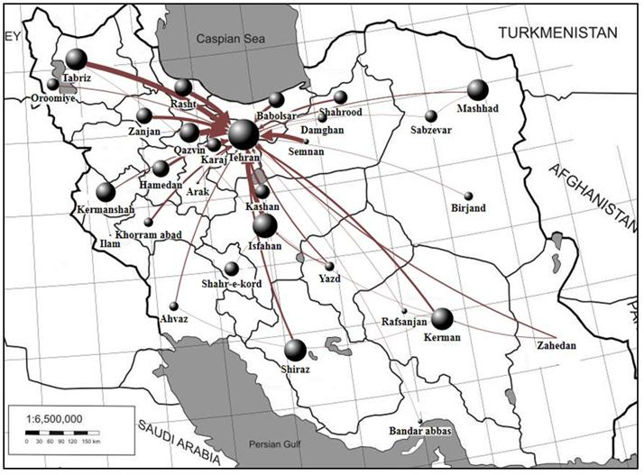 Figure 3. ILL network of Iranian cities